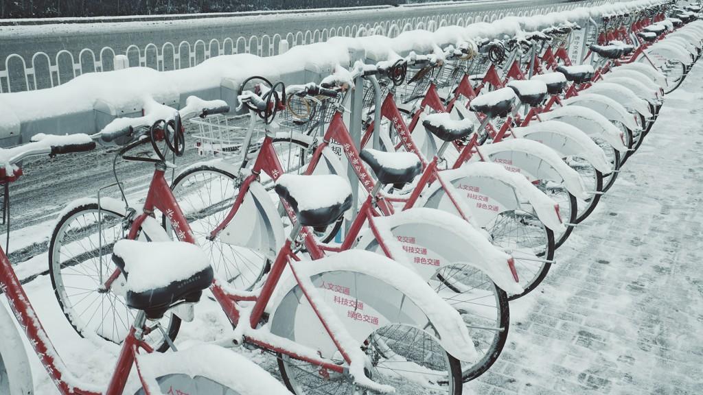 Beijing bikes snow
