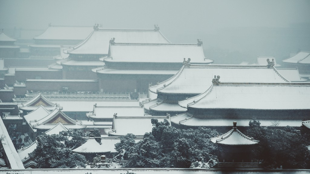 Snow forbidden city china